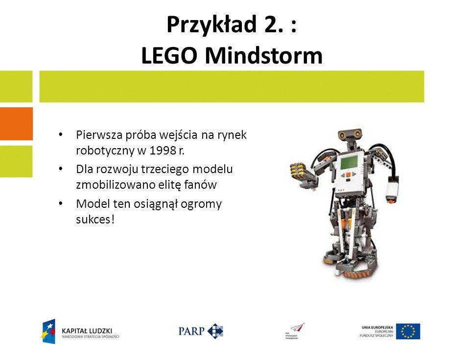Przykład 2. : LEGO Mindstorm Pierwsza próba wejścia na rynek robotyczny w 1998 r.