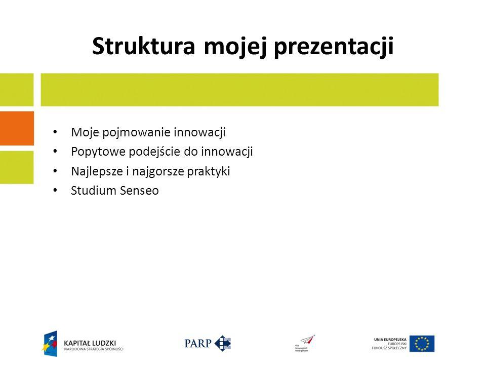 Struktura mojej prezentacji Moje pojmowanie innowacji Popytowe podejście do innowacji Najlepsze i najgorsze praktyki Studium Senseo