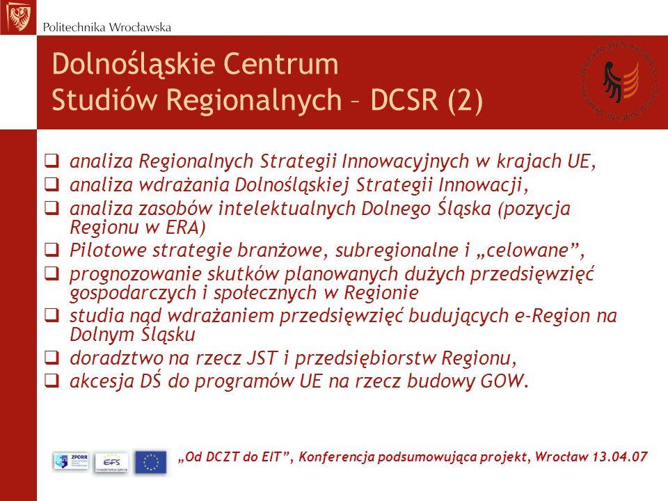 Od DCZT do EIT, Konferencja podsumowująca projekt, Wrocław 13.04.07 Dolnośląskie Centrum Studiów Regionalnych – DCSR (2) analiza Regionalnych Strategii Innowacyjnych w krajach UE, analiza wdrażania Dolnośląskiej Strategii Innowacji, analiza zasobów intelektualnych Dolnego Śląska (pozycja Regionu w ERA) Pilotowe strategie branżowe, subregionalne i celowane, prognozowanie skutków planowanych dużych przedsięwzięć gospodarczych i społecznych w Regionie studia nad wdrażaniem przedsięwzięć budujących e-Region na Dolnym Śląsku doradztwo na rzecz JST i przedsiębiorstw Regionu, akcesja DŚ do programów UE na rzecz budowy GOW.