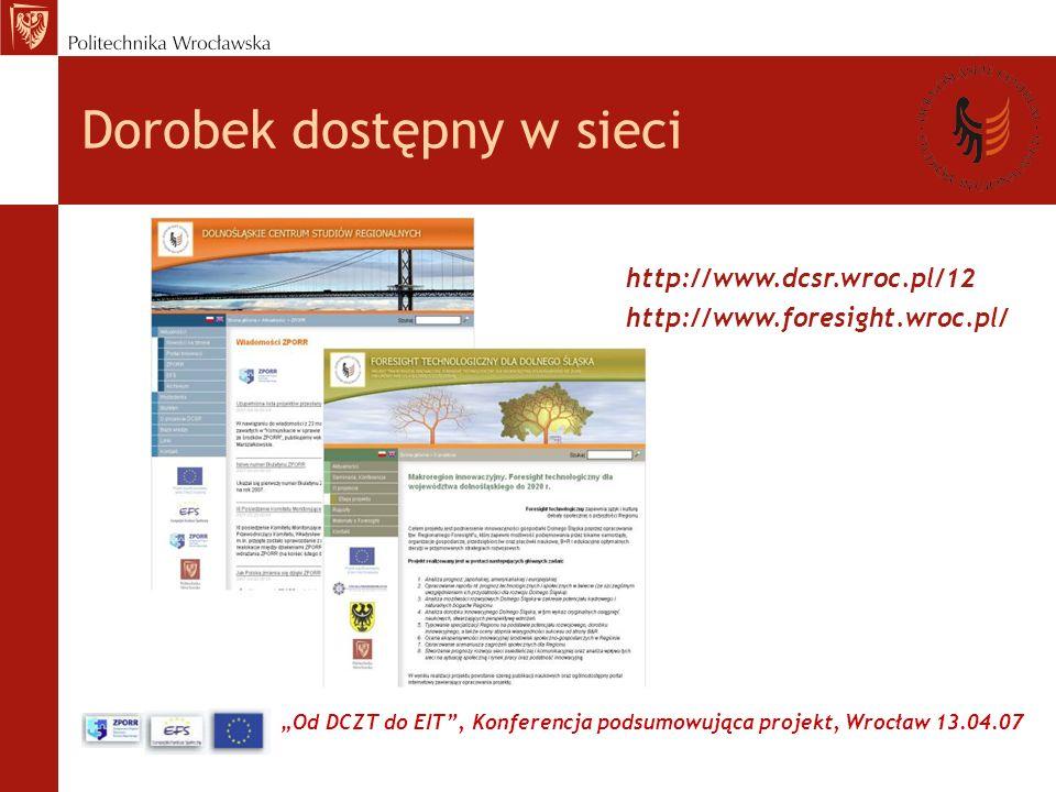 Od DCZT do EIT, Konferencja podsumowująca projekt, Wrocław 13.04.07 http://www.dcsr.wroc.pl/12 Dorobek dostępny w sieci http://www.foresight.wroc.pl/