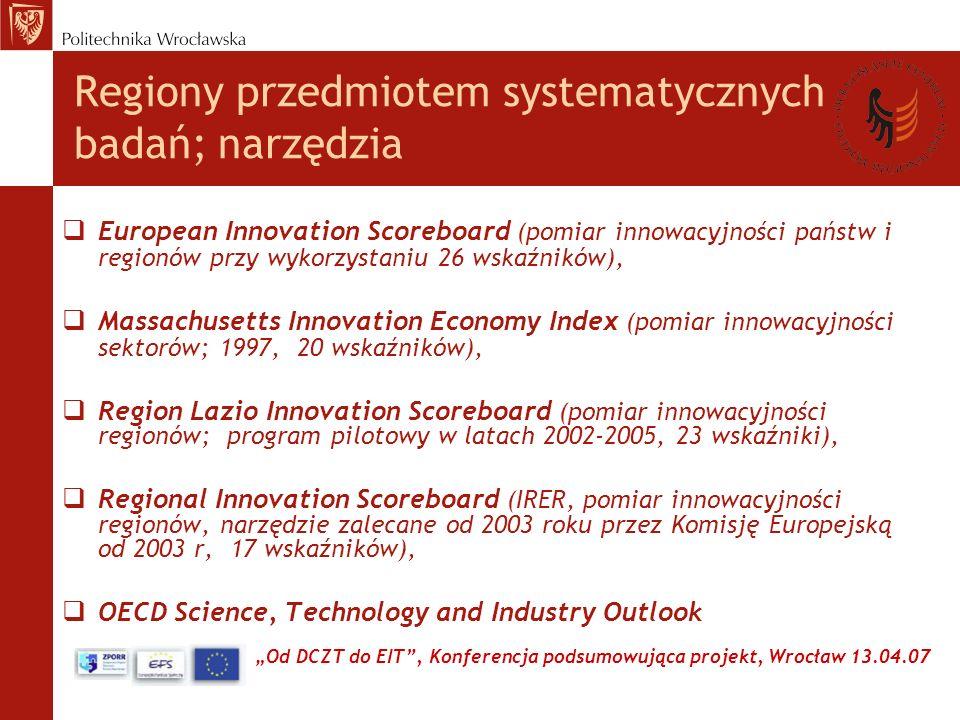 Od DCZT do EIT, Konferencja podsumowująca projekt, Wrocław 13.04.07 Regiony przedmiotem systematycznych badań; narzędzia European Innovation Scoreboard (pomiar innowacyjności państw i regionów przy wykorzystaniu 26 wskaźników), Massachusetts Innovation Economy Index (pomiar innowacyjności sektorów; 1997, 20 wskaźników), Region Lazio Innovation Scoreboard (pomiar innowacyjności regionów; program pilotowy w latach 2002-2005, 23 wskaźniki), Regional Innovation Scoreboard (IRER, pomiar innowacyjności regionów, narzędzie zalecane od 2003 roku przez Komisję Europejską od 2003 r, 17 wskaźników), OECD Science, Technology and Industry Outlook