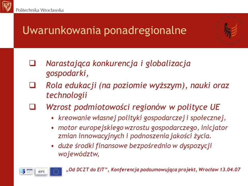 Od DCZT do EIT, Konferencja podsumowująca projekt, Wrocław 13.04.07 Uwarunkowania ponadregionalne Narastająca konkurencja i globalizacja gospodarki, Rola edukacji (na poziomie wyższym), nauki oraz technologii Wzrost podmiotowości regionów w polityce UE kreowanie własnej polityki gospodarczej i społecznej, motor europejskiego wzrostu gospodarczego, inicjator zmian innowacyjnych i podnoszenia jakości życia.