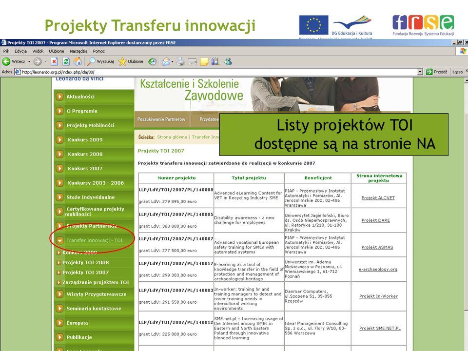 PROGRAM LEONARDO DA VINCI Projekty Transferu innowacji Listy projektów TOI dostępne są na stronie NA