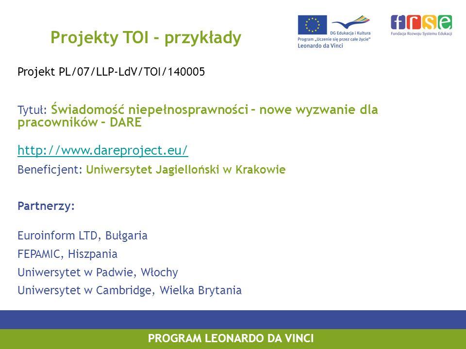 PROGRAM LEONARDO DA VINCI Projekty TOI - przykłady Projekt PL/07/LLP-LdV/TOI/140005 Tytuł: Świadomość niepełnosprawności – nowe wyzwanie dla pracowników – DARE http://www.dareproject.eu/ Beneficjent: Uniwersytet Jagielloński w Krakowie Partnerzy: Euroinform LTD, Bułgaria FEPAMIC, Hiszpania Uniwersytet w Padwie, Włochy Uniwersytet w Cambridge, Wielka Brytania