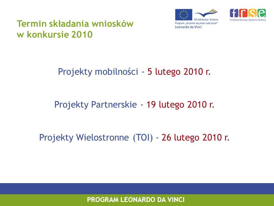 Termin składania wniosków w konkursie 2010 Projekty mobilności - 5 lutego 2010 r.