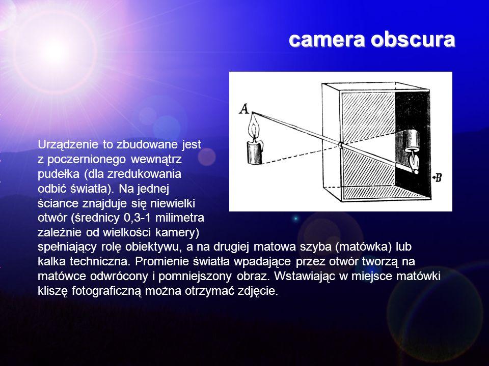 camera obscura Urządzenie to zbudowane jest z poczernionego wewnątrz pudełka (dla zredukowania odbić światła). Na jednej ściance znajduje się niewielk