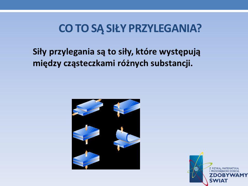 CO TO SĄ SIŁY PRZYLEGANIA? Siły przylegania są to siły, które występują między cząsteczkami różnych substancji.