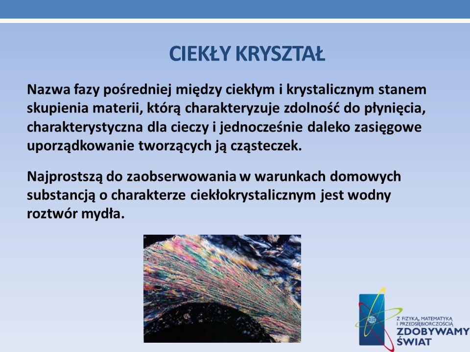 CIEKŁY KRYSZTAŁ Nazwa fazy pośredniej między ciekłym i krystalicznym stanem skupienia materii, którą charakteryzuje zdolność do płynięcia, charakterys