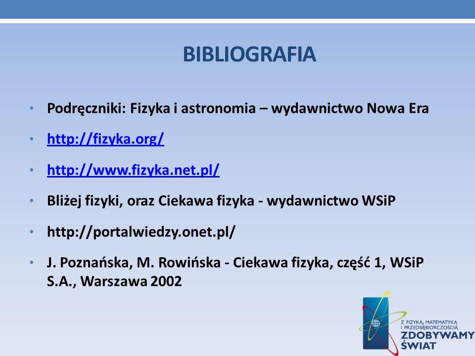 BIBLIOGRAFIA Podręczniki: Fizyka i astronomia – wydawnictwo Nowa Era http://fizyka.org/ http://www.fizyka.net.pl/ Bliżej fizyki, oraz Ciekawa fizyka -