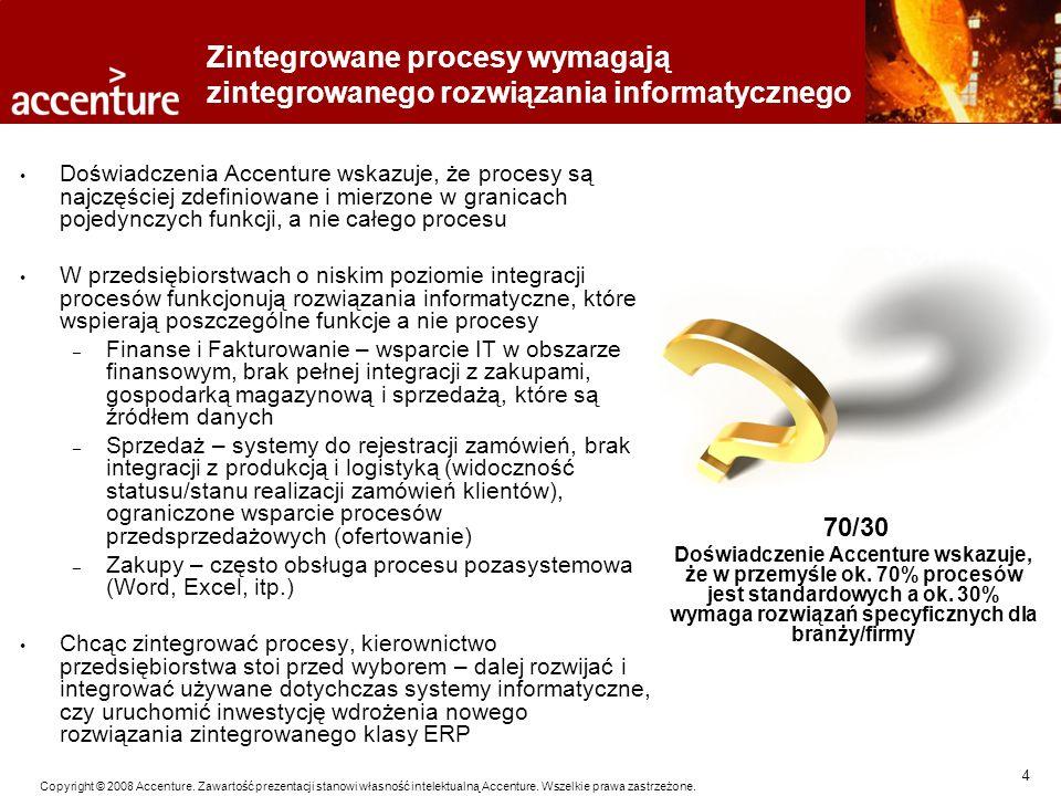 4 Copyright © 2008 Accenture. Zawartość prezentacji stanowi własność intelektualną Accenture. Wszelkie prawa zastrzeżone. Zintegrowane procesy wymagaj