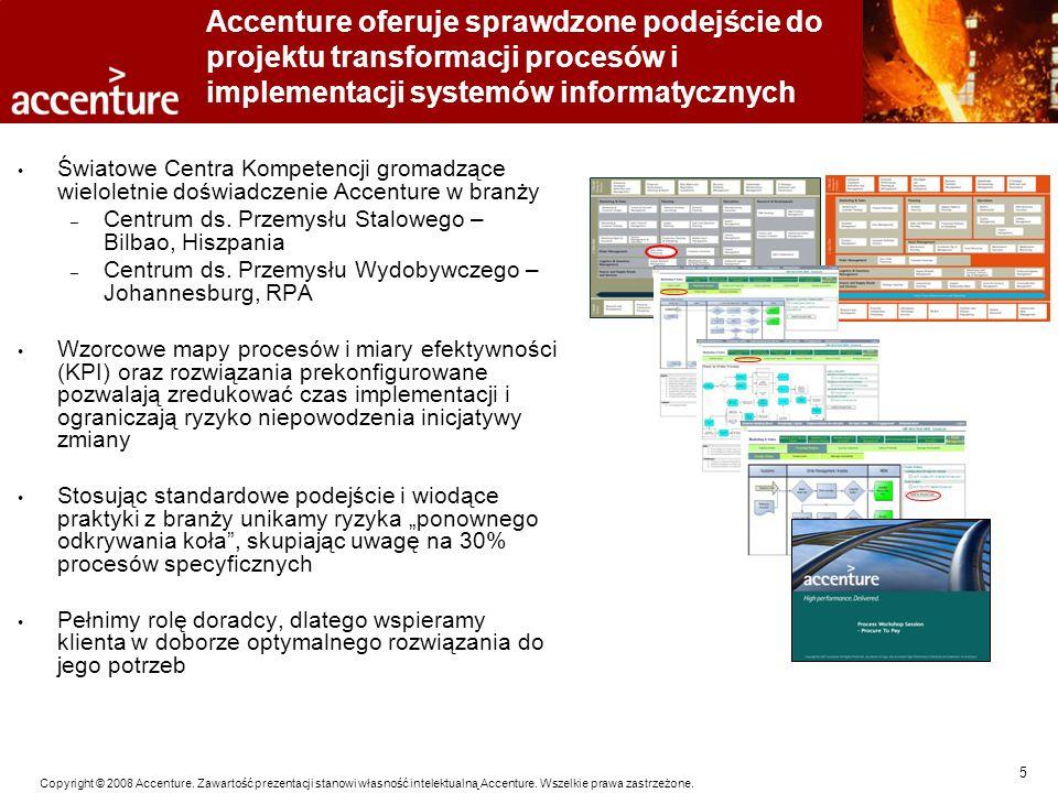 5 Copyright © 2008 Accenture. Zawartość prezentacji stanowi własność intelektualną Accenture. Wszelkie prawa zastrzeżone. Accenture oferuje sprawdzone