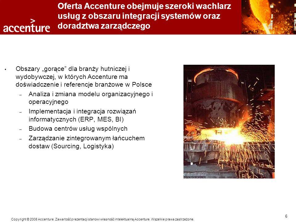 6 Copyright © 2008 Accenture. Zawartość prezentacji stanowi własność intelektualną Accenture. Wszelkie prawa zastrzeżone. Oferta Accenture obejmuje sz
