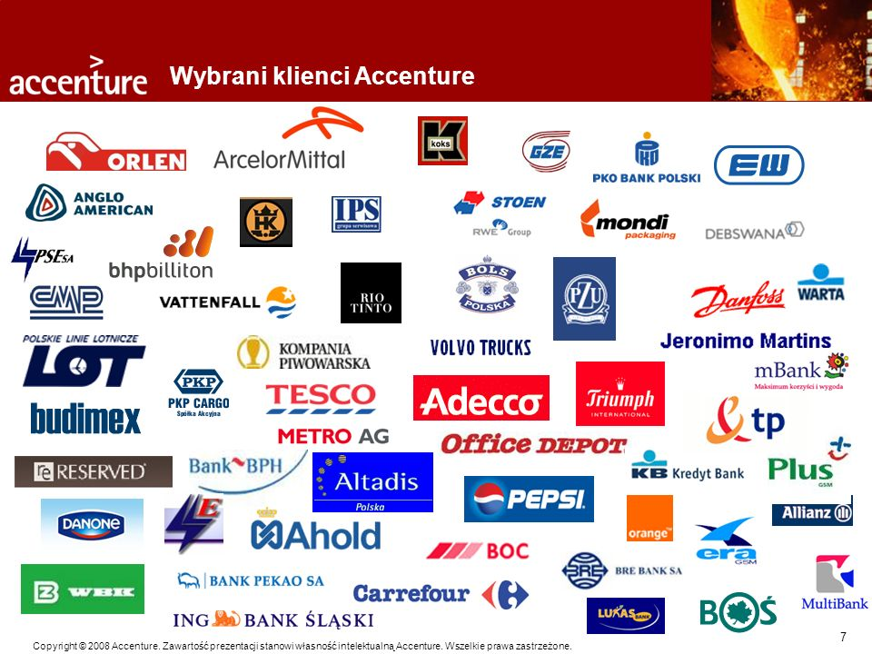 7 Copyright © 2008 Accenture. Zawartość prezentacji stanowi własność intelektualną Accenture. Wszelkie prawa zastrzeżone. Wybrani klienci Accenture