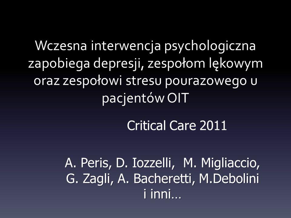 Wczesna interwencja psychologiczna zapobiega depresji, zespołom lękowym oraz zespołowi stresu pourazowego u pacjentów OIT Critical Care 2011 A. Peris,