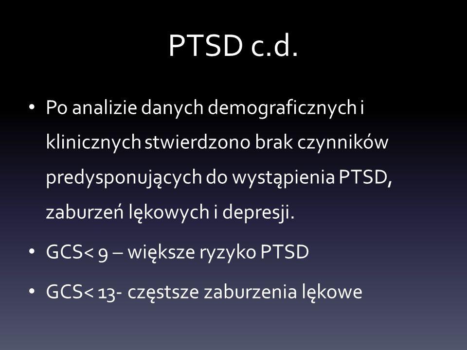 PTSD c.d. Po analizie danych demograficznych i klinicznych stwierdzono brak czynników predysponujących do wystąpienia PTSD, zaburzeń lękowych i depres
