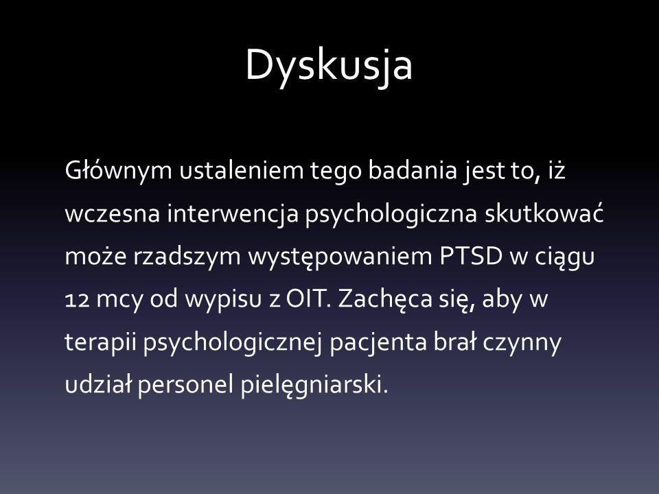 Dyskusja Głównym ustaleniem tego badania jest to, iż wczesna interwencja psychologiczna skutkować może rzadszym występowaniem PTSD w ciągu 12 mcy od w