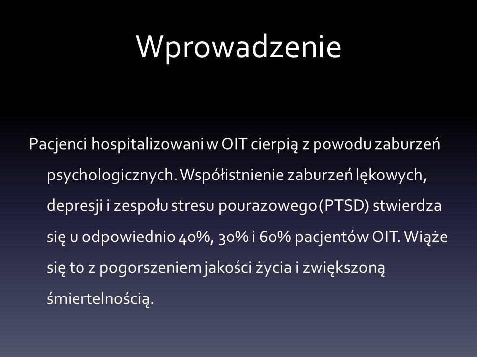 Metodyka badania Do udziału w badaniach kwalifikowani byli pacjenci spełniający nastepujące kryteria: 18-75 lat, ISS>15, hospitalizacja w OIT> 72h, potrzeba wentylacji mechanicznej, zdolność do udziału w badaniu – udzielenie wywiadu w trakcie hospitalizacji w OIT jak i po 12 miesiącach,brak chorób psychicznych jak i uzaleznień w przeszłości.
