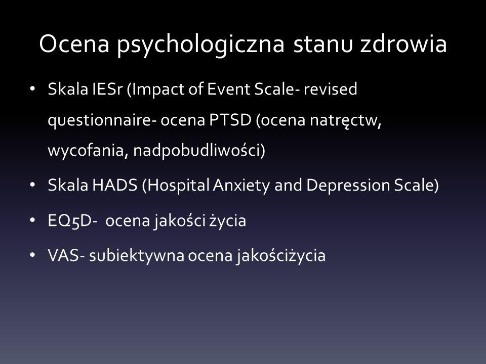 Ocena psychologiczna stanu zdrowia Skala IESr (Impact of Event Scale- revised questionnaire- ocena PTSD (ocena natręctw, wycofania, nadpobudliwości) S