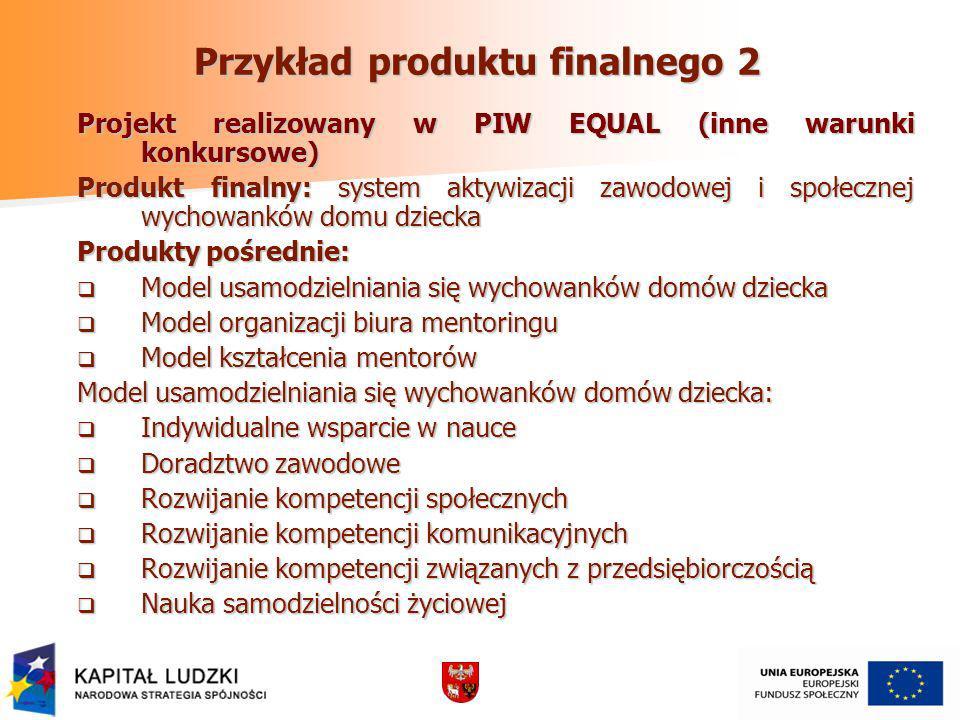 Przykład produktu finalnego 2 Projekt realizowany w PIW EQUAL (inne warunki konkursowe) Produkt finalny: system aktywizacji zawodowej i społecznej wyc