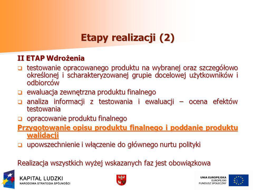 Etapy realizacji (2) II ETAP Wdrożenia testowanie opracowanego produktu na wybranej oraz szczegółowo określonej i scharakteryzowanej grupie docelowej