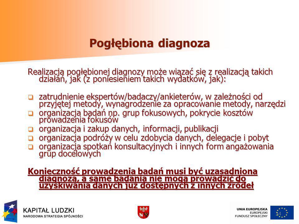 Pogłębiona diagnoza Realizacja pogłębionej diagnozy może wiązać się z realizacją takich działań, jak (z poniesieniem takich wydatków, jak): zatrudnien