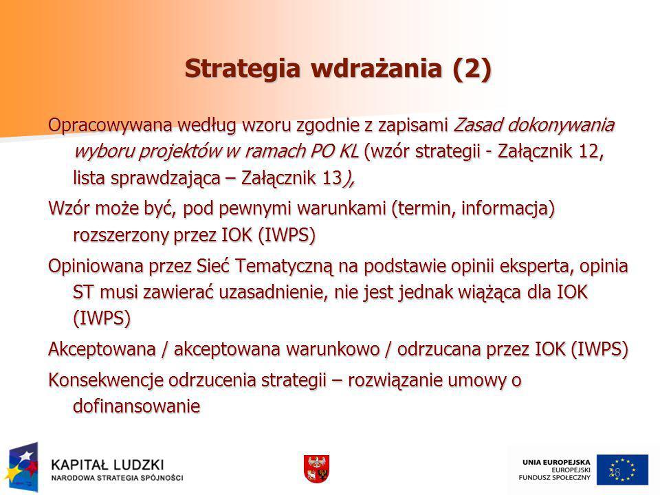 Strategia wdrażania (2) Opracowywana według wzoru zgodnie z zapisami Zasad dokonywania wyboru projektów w ramach PO KL (wzór strategii - Załącznik 12, lista sprawdzająca – Załącznik 13), Wzór może być, pod pewnymi warunkami (termin, informacja) rozszerzony przez IOK (IWPS) Opiniowana przez Sieć Tematyczną na podstawie opinii eksperta, opinia ST musi zawierać uzasadnienie, nie jest jednak wiążąca dla IOK (IWPS) Akceptowana / akceptowana warunkowo / odrzucana przez IOK (IWPS) Konsekwencje odrzucenia strategii – rozwiązanie umowy o dofinansowanie 28