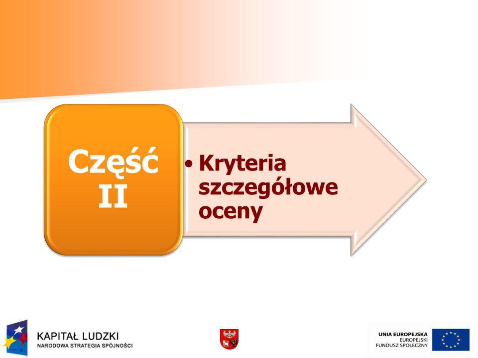 Kryteria szczegółowe oceny Część II