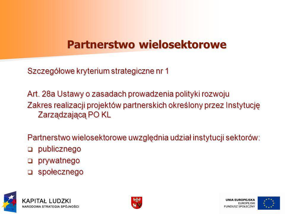 Partnerstwo wielosektorowe Szczegółowe kryterium strategiczne nr 1 Art. 28a Ustawy o zasadach prowadzenia polityki rozwoju Zakres realizacji projektów