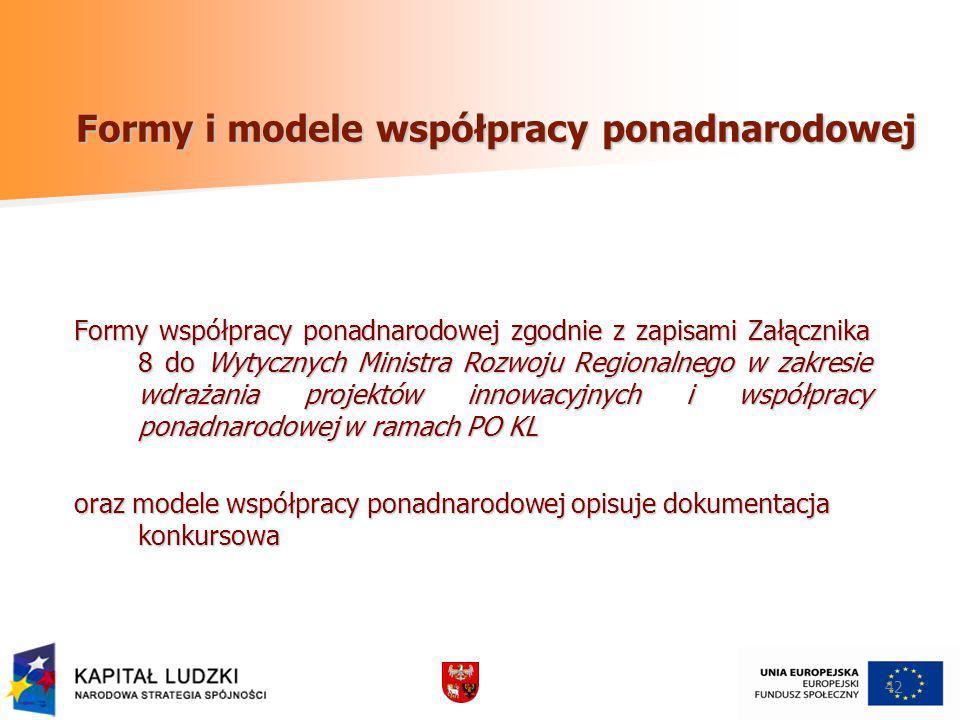 42 Formy i modele współpracy ponadnarodowej Formy współpracy ponadnarodowej zgodnie z zapisami Załącznika 8 do Wytycznych Ministra Rozwoju Regionalneg