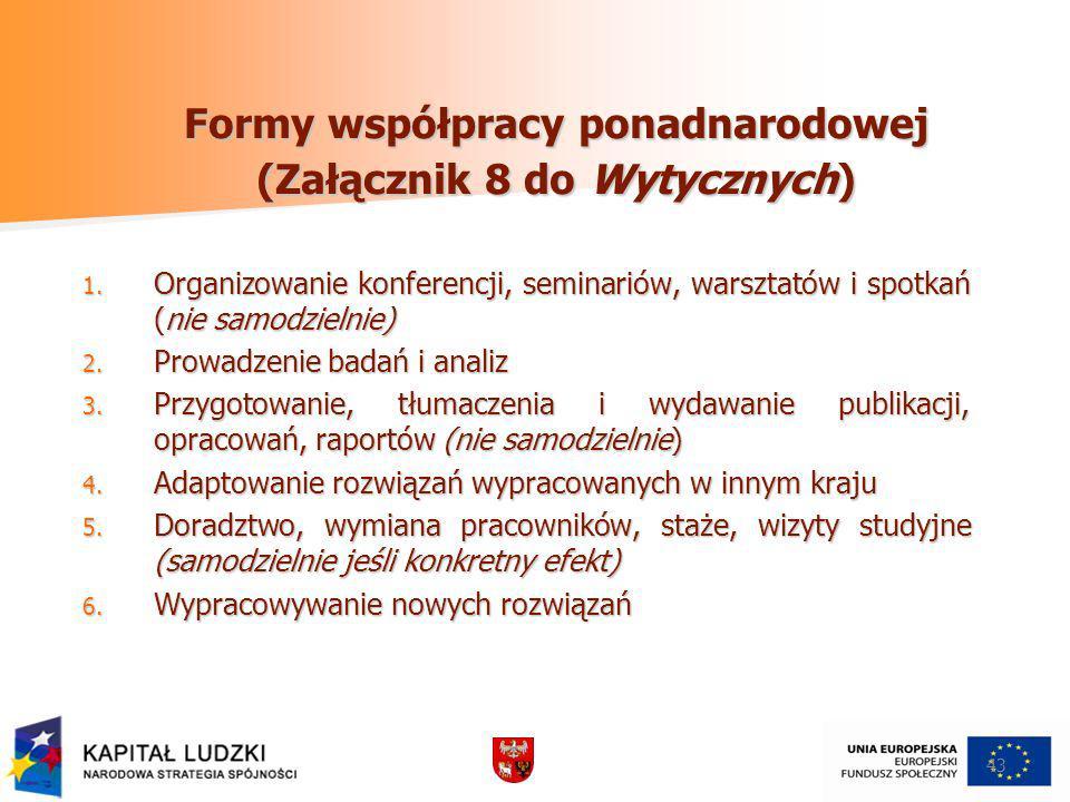 43 Formy współpracy ponadnarodowej (Załącznik 8 do Wytycznych) 1. Organizowanie konferencji, seminariów, warsztatów i spotkań (nie samodzielnie) 2. Pr