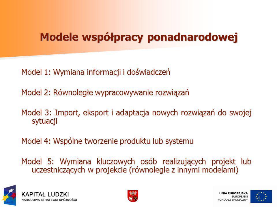 44 Modele współpracy ponadnarodowej Model 1: Wymiana informacji i doświadczeń Model 2: Równoległe wypracowywanie rozwiązań Model 3: Import, eksport i adaptacja nowych rozwiązań do swojej sytuacji Model 4: Wspólne tworzenie produktu lub systemu Model 5: Wymiana kluczowych osób realizujących projekt lub uczestniczących w projekcie (równolegle z innymi modelami)