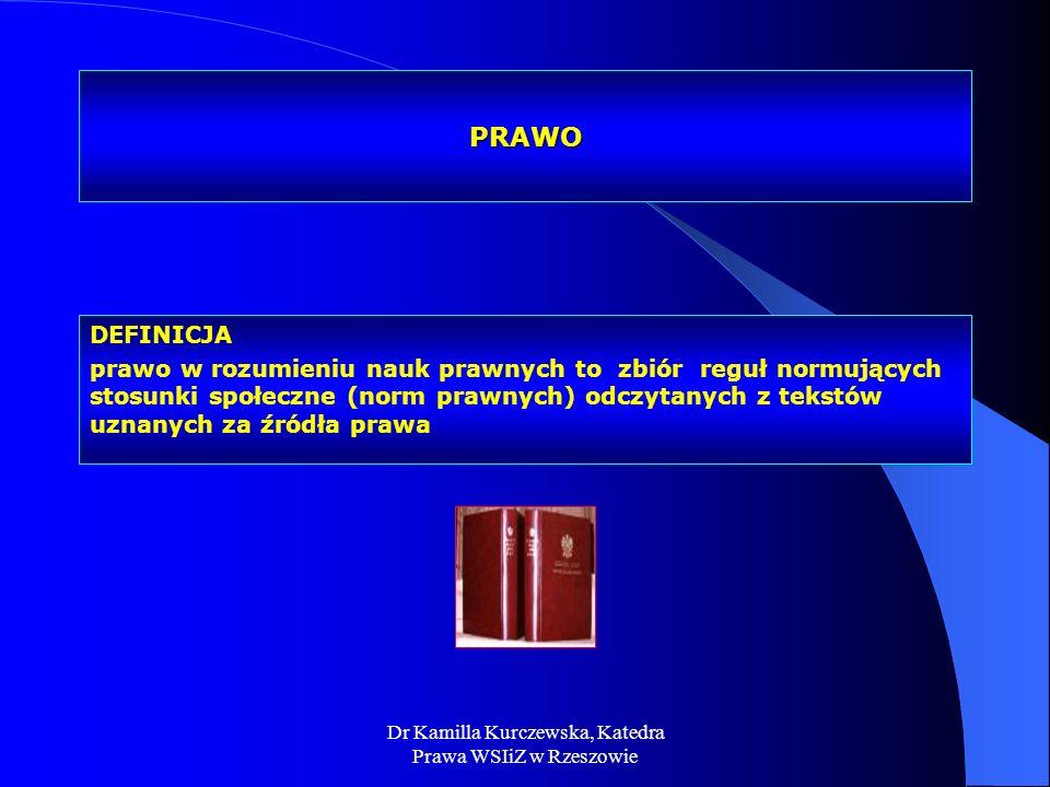 Dr Kamilla Kurczewska, Katedra Prawa WSIiZ w Rzeszowie PRAWO DEFINICJA prawo w rozumieniu nauk prawnych to zbiór reguł normujących stosunki społeczne