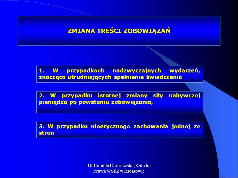 Dr Kamilla Kurczewska, Katedra Prawa WSIiZ w Rzeszowie ZMIANA TREŚCI ZOBOWIĄZAŃ 1. W przypadkach nadzwyczajnych wydarzeń, znacząco utrudniających speł