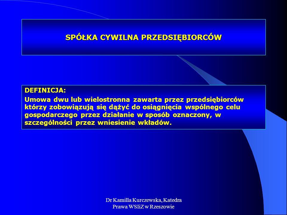 Dr Kamilla Kurczewska, Katedra Prawa WSIiZ w Rzeszowie SPÓŁKA CYWILNA PRZEDSIĘBIORCÓW DEFINICJA: Umowa dwu lub wielostronna zawarta przez przedsiębior