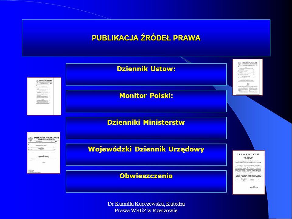 Dr Kamilla Kurczewska, Katedra Prawa WSIiZ w Rzeszowie PRZEPIS PRAWA DEFINICJA: Jednostka redakcyjna tekstu aktów prawnych - porcja tekstu oznaczonego terminem art.