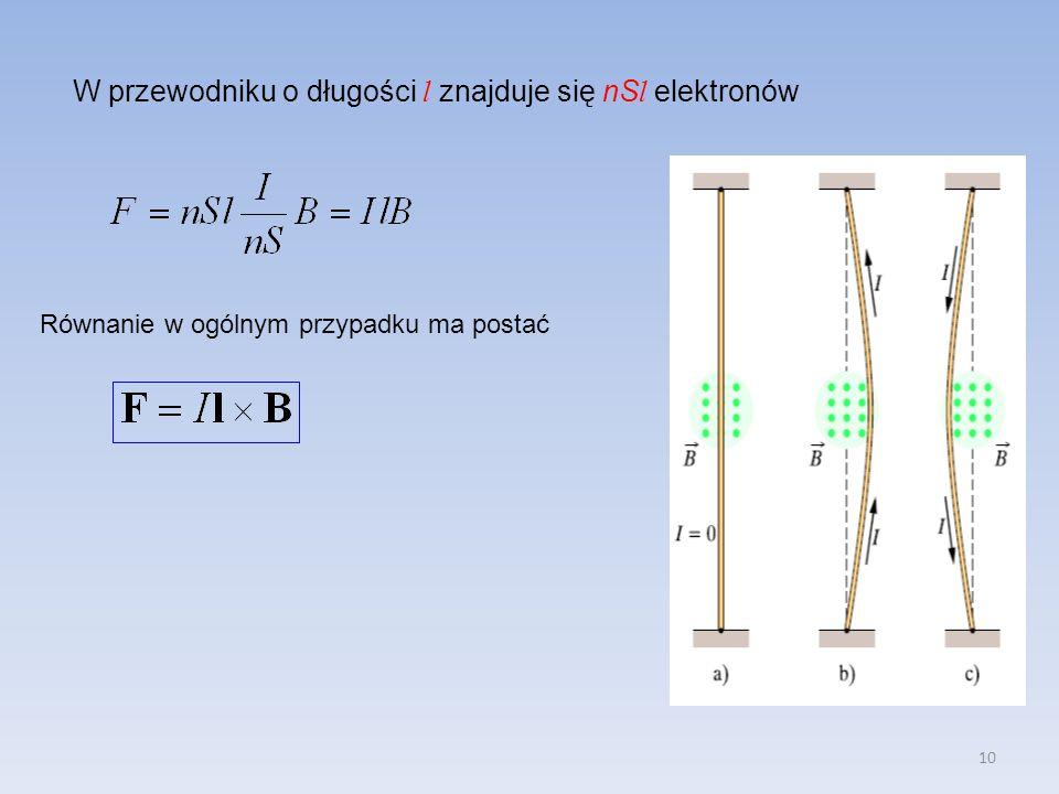 10 W przewodniku o długości l znajduje się nS l elektronów Równanie w ogólnym przypadku ma postać