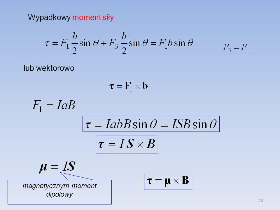 13 Wypadkowy moment siły lub wektorowo magnetycznym moment dipolowy