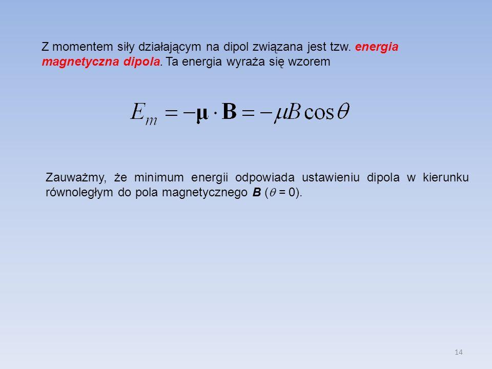 14 Z momentem siły działającym na dipol związana jest tzw. energia magnetyczna dipola. Ta energia wyraża się wzorem Zauważmy, że minimum energii odpow