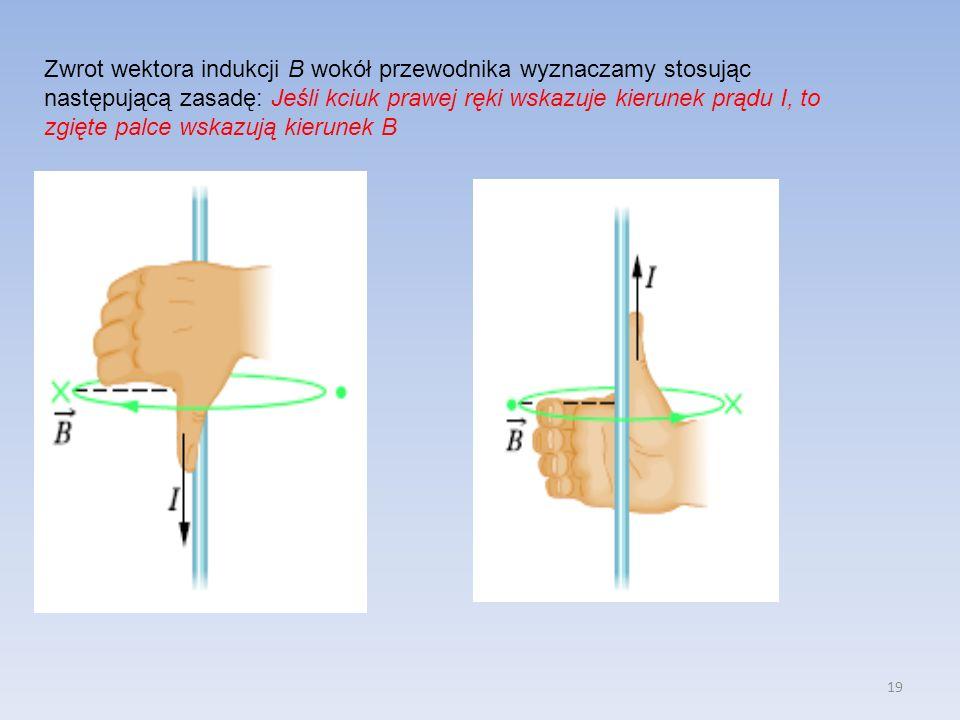 19 Zwrot wektora indukcji B wokół przewodnika wyznaczamy stosując następującą zasadę: Jeśli kciuk prawej ręki wskazuje kierunek prądu I, to zgięte pal