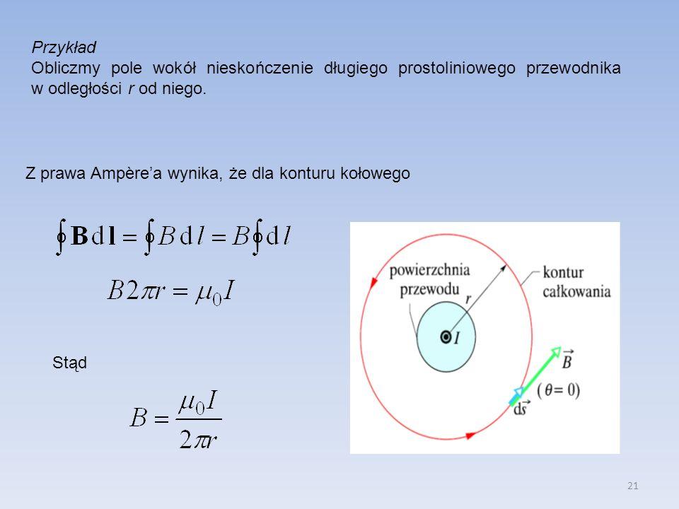 21 Przykład Obliczmy pole wokół nieskończenie długiego prostoliniowego przewodnika w odległości r od niego. Z prawa Ampèrea wynika, że dla konturu koł