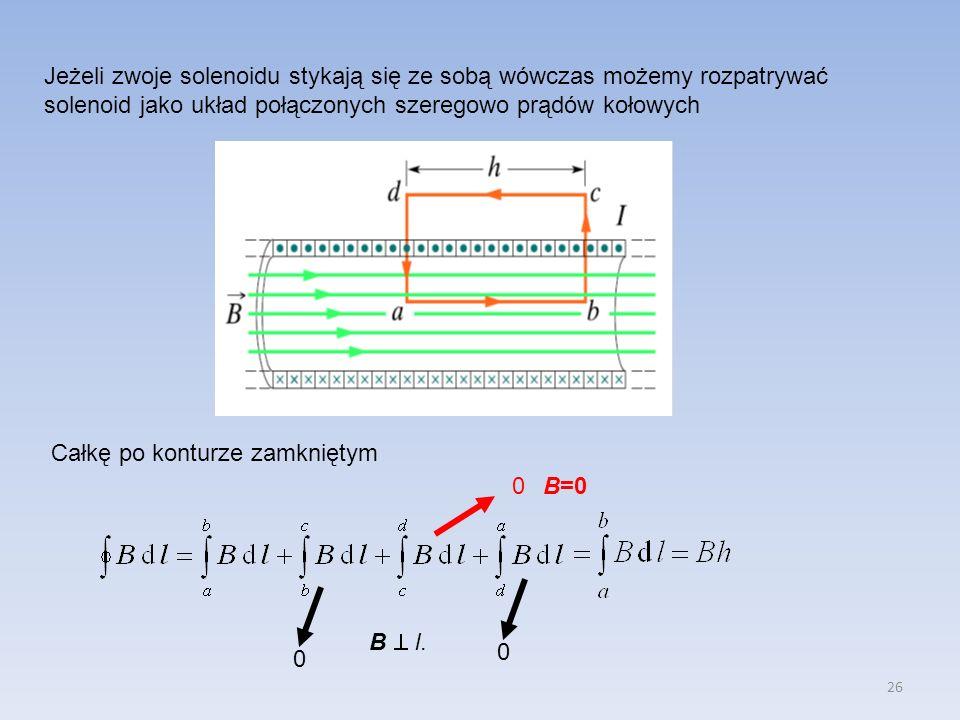 26 Jeżeli zwoje solenoidu stykają się ze sobą wówczas możemy rozpatrywać solenoid jako układ połączonych szeregowo prądów kołowych Całkę po konturze z