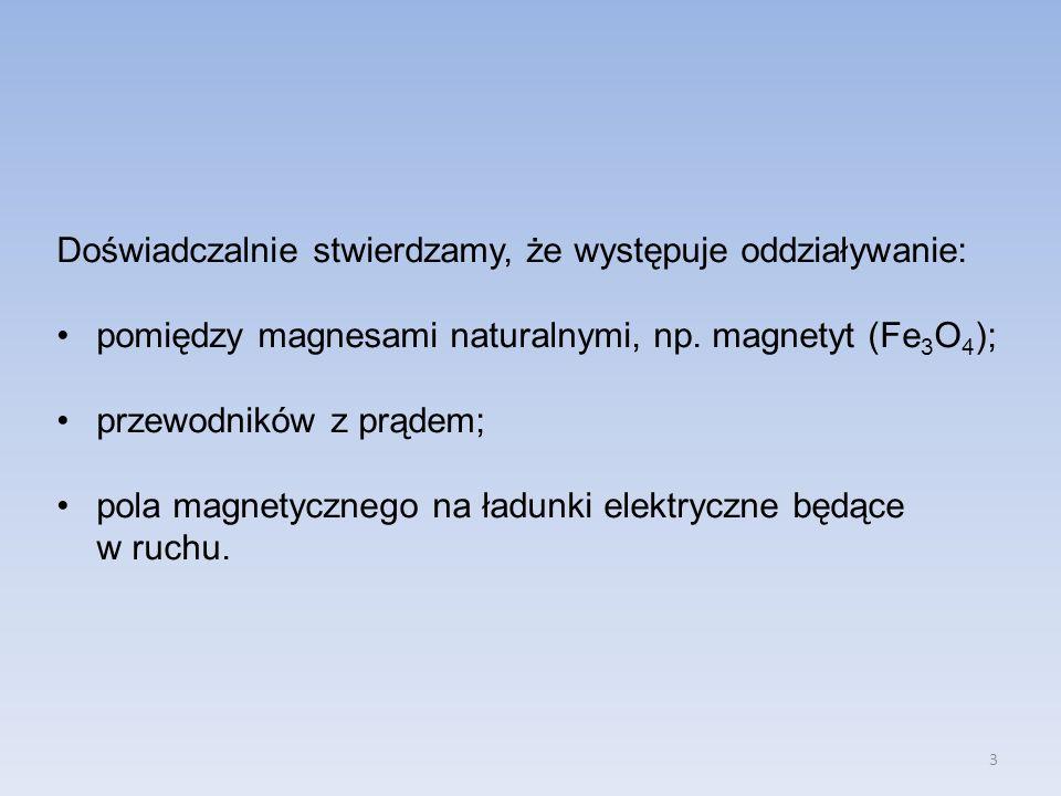 3 Doświadczalnie stwierdzamy, że występuje oddziaływanie: pomiędzy magnesami naturalnymi, np. magnetyt (Fe 3 O 4 ); przewodników z prądem; pola magnet