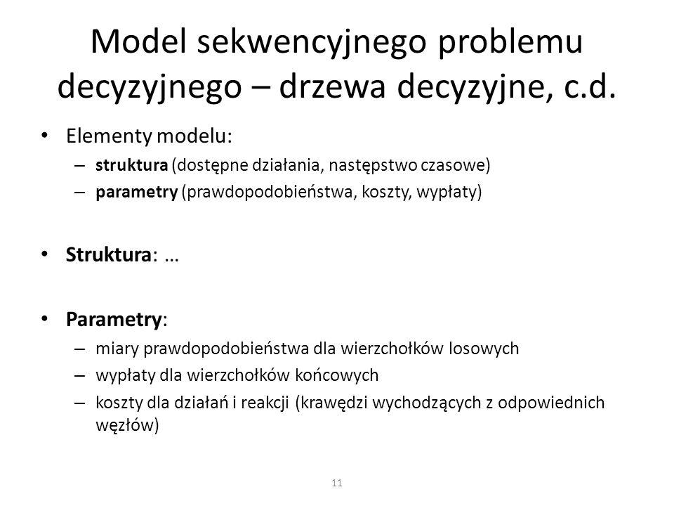 Elementy modelu: – struktura (dostępne działania, następstwo czasowe) – parametry (prawdopodobieństwa, koszty, wypłaty) Struktura: … Parametry: – miar