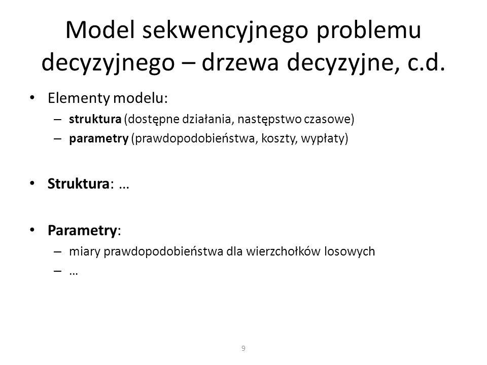 Drzewo decyzyjne jako model sekwencyjnego problemu decyzyjnego (to nie to samo co drzewo klasyfikacyjne z data miningu!) Drzewo decyzyjne ułatwia strukturyzację modelu, ale wciąż występują pułapki (jak zawsze) – trzeba zachować perspektywę decydenta Parametryzacja często wymaga metod bayesowskich Do rozwiązywania można podejść globalnie (wypisanie wariantów) albo rekurencyjnie (indukcja wsteczna) – w ramach modelu i ograniczeń stosowanych dzisiaj podejścia te są równoważne Podsumowanie 40