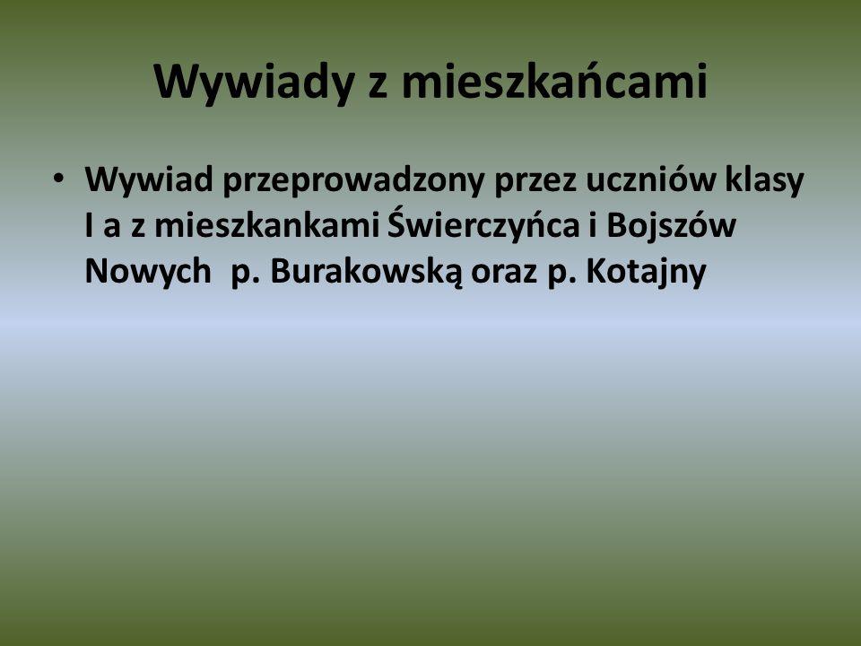 Wywiady z mieszkańcami Wywiad przeprowadzony przez uczniów klasy I a z mieszkankami Świerczyńca i Bojszów Nowych p.