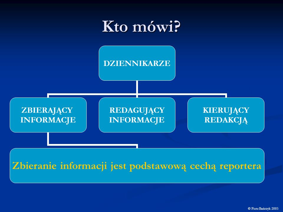 Kto mówi? © Piotr Bańczyk 2005 DZIENNIKARZE ZBIERAJĄCY INFORMACJE Zbieranie informacji jest podstawową cechą reportera REDAGUJĄCY INFORMACJE KIERUJĄCY
