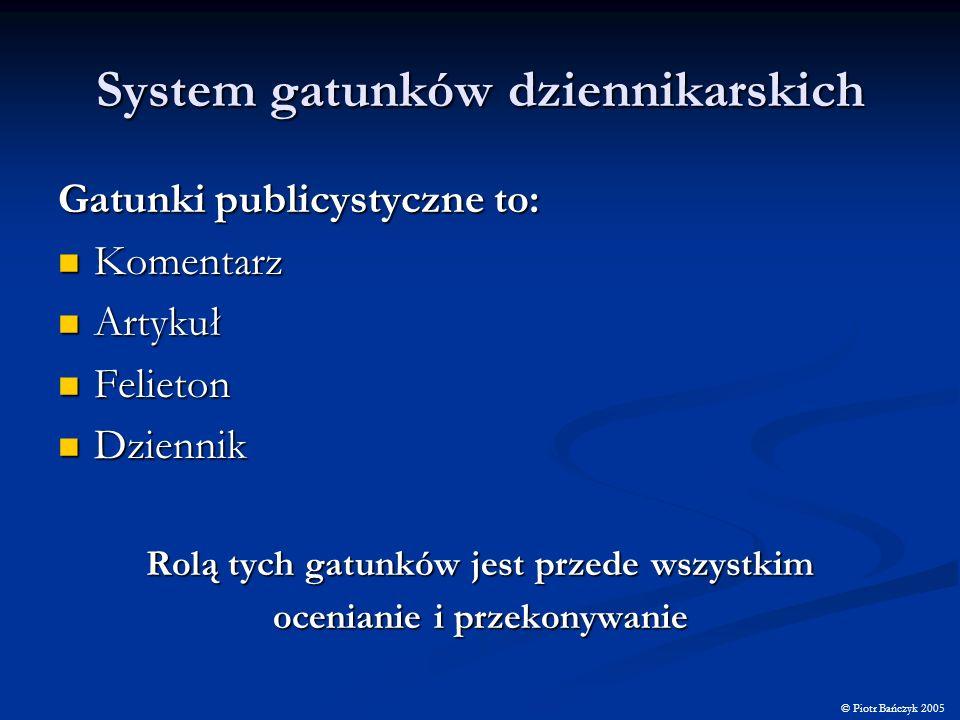 System gatunków dziennikarskich Gatunki publicystyczne to: Komentarz Komentarz Artykuł Artykuł Felieton Felieton Dziennik Dziennik Rolą tych gatunków