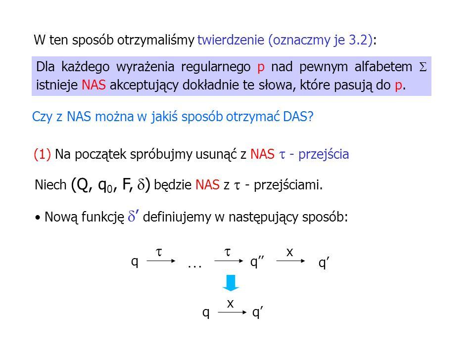 Dla każdego wyrażenia regularnego p nad pewnym alfabetem istnieje NAS akceptujący dokładnie te słowa, które pasują do p. W ten sposób otrzymaliśmy twi