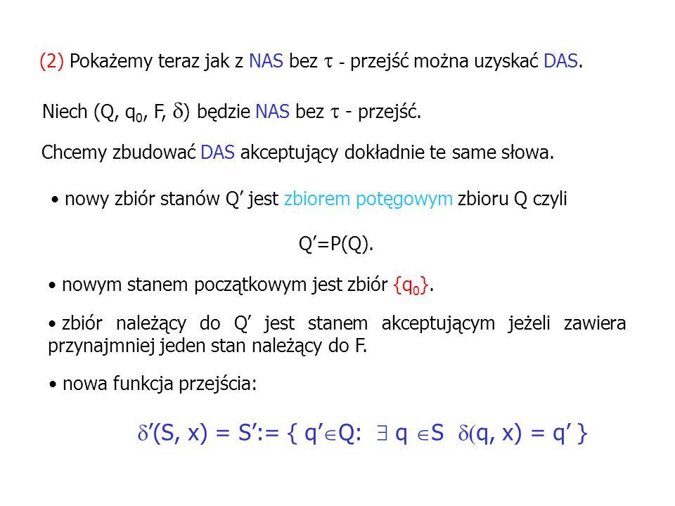 (2) Pokażemy teraz jak z NAS bez - przejść można uzyskać DAS. Niech (Q, q 0, F, ) będzie NAS bez - przejść. Chcemy zbudować DAS akceptujący dokładnie