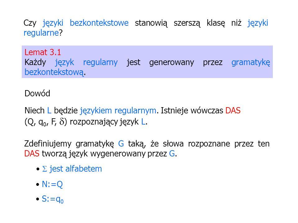Czy języki bezkontekstowe stanowią szerszą klasę niż języki regularne? Lemat 3.1 Każdy język regularny jest generowany przez gramatykę bezkontekstową.